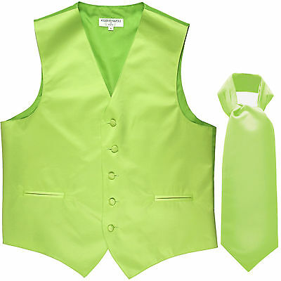 New Men's Formal Tuxedo Vest Waistcoat solid & Ascot cravat Lime Green Prom