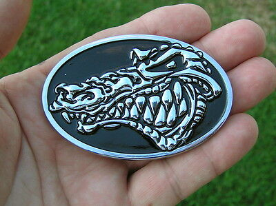 ~ WILD CROCODILE MOTORCYCLE BADGE Chrome Metal Emblem *NEW* suit Harley Davidson