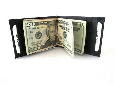 Men's New Genuine Leather Black Bifold Money Clip Wallet ID Credit Card Holder.