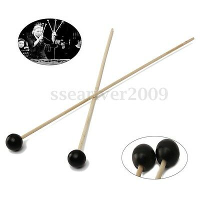 1 Pair Black Soft Mallets Rubber Head Warm Sound For Bells And Xylophone New