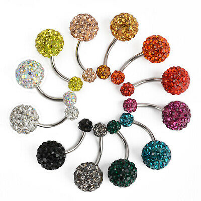 Vogue Navel Belly Button Bar Ring Barbell Rhinestone Crystal Ball Body Piercing