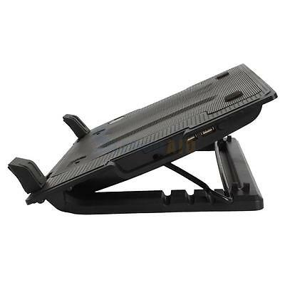 """New One Big Fan USB Notebook Computer Cooling Pad Stand 9-17"""" Adjustable Black"""