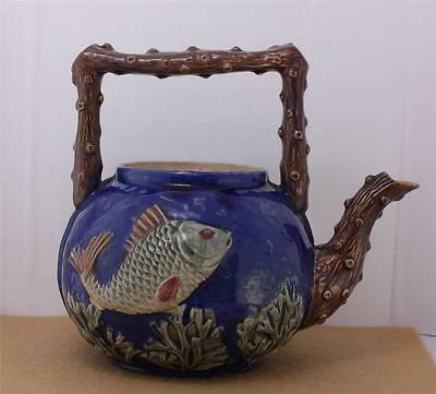 Antique Majolica Bass Fish Coral Motif Teapot Branch Handle Ocean Missing Lid
