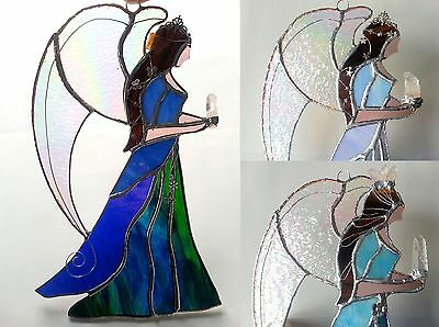 Large Guardian Angel stained glass suncatcher crystal dragonfly butterfly gift