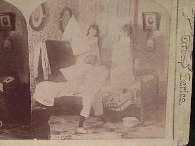 The Pillow Fight #1129 Antique Stereoview Image Webster & Albee Group Series