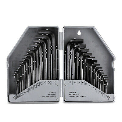 30 Pcs Allen Wrench Metric Hex Key Set SAE / MM Long Short Arm With Case