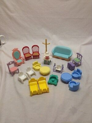 Fisher Price Doll House Furniture Lot 21 Pcs
