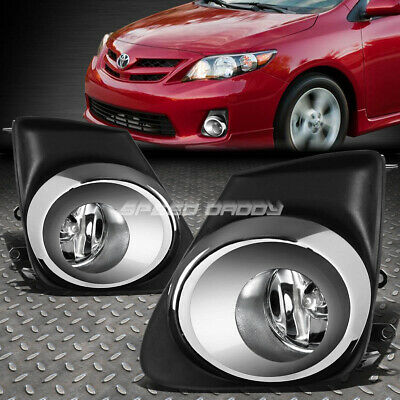 For 11-13 Toyota Corolla Clear Oe Bumper Driving Fog Light+Chrome Bezel+Switch
