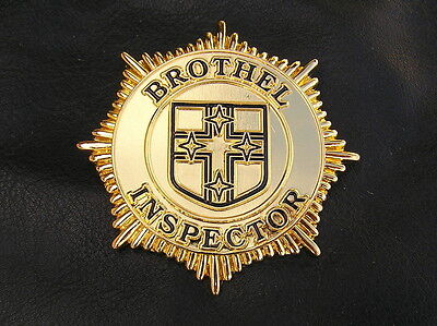Old Style - Brothel Inspector Badge - Gold Plated - Limited Edition