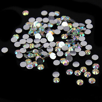 1000 pcs Womens 4mm Nail Art Flatback Crystal AB Faceted Round Rhinestone Beads