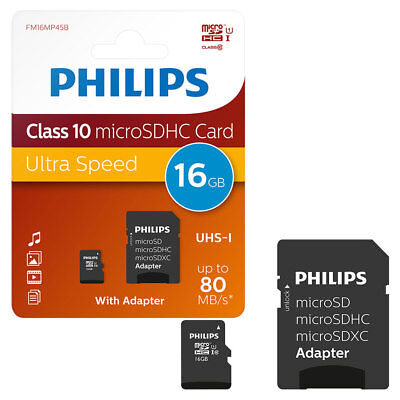 16GB Philips Micro SD SDHC Memory Card CLASS 10 with Full Size SD Adapter 16GB