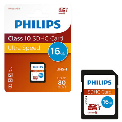 BRAND NEW 16GB Philips SD SDHC SD Memory Card CLASS 10 16GB