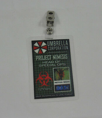 Resident Evil ID Badge-Umbrella Corporation Project Nemesis Head Of Special Ops