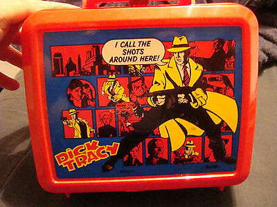 Dick Tracy Plastic Red Lunchbox and Thermos