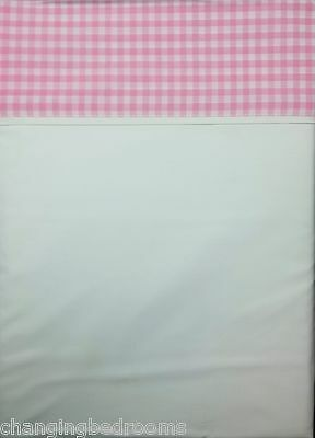 Pink Border Peacock Blue 100% Cotton Flat Sheet In Double Or Superking Size