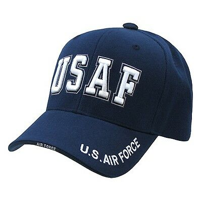 fed8d3d1c87 Navy Blue United States USAF Air Force Text Military Baseball Cap Hat Caps  Hats
