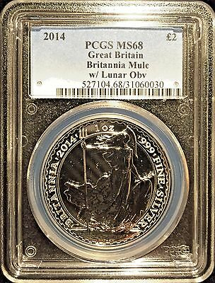 *2014 UK Royal Mint Britannia Lunar Mule £2 Silver 1oz PCGS MS68 Mule Error*