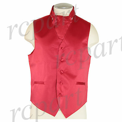 New Men's Formal Tuxedo Vest Waistcoat solid & Ascot cravat red Wedding Prom