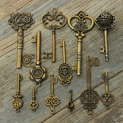 12 Assorted Antique Vintage Old Look Large Skeleton Royal Keys Bronze Pendants
