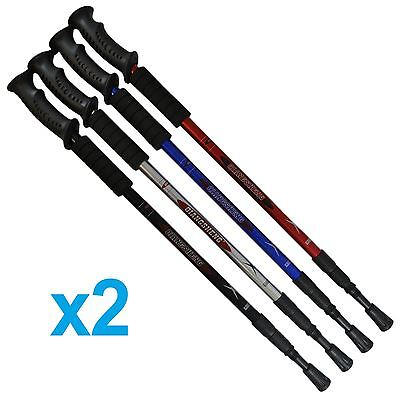 2x Telescopic Extending Adjustable Hiking Walking Trekking Anti Shock Stick Pole