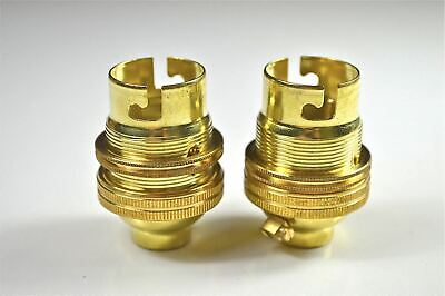 Pair Of Brass Bayonet Bulb Holder Lamp Holder Earthed C/W Shade Ring 1/2 Inch L3