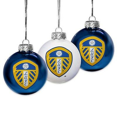 Leeds United AFC Official Football Gift Box Christmas Decoration 3 Pk Baubles