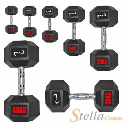 Hex Rubber Dumbbells Sets Gym Fitness Hexagonal Dumbbell Weights 1kg - 40kg