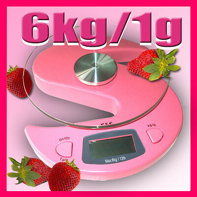 G&G 6000g/1g Küchenwaage  Briefwaage Digital-Waage KS-Pink