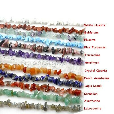 "Natural Gemstone Chip Nugget Freeform Loose Bead 34"" Chips Necklace Bracelet USA"