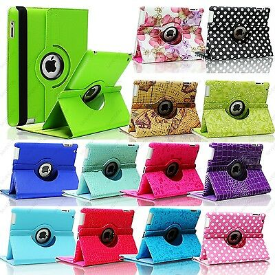 Colorful Flower Map 360 Rotate Leather Case Smart Cover Stand For iPad 4 3 2