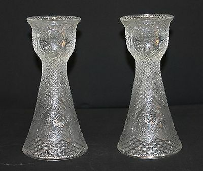 Pair of Avon Heart Diamond Cut Glass by Egg Fostoria Candle holder Vases from 19