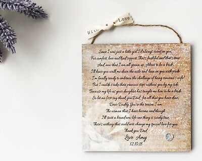 Personalised Father Of The Bride Gift Wedding Wooden Plaque Card Dad W140