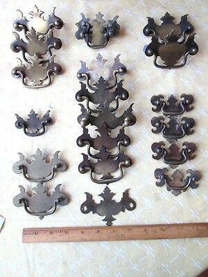 20 Vintage CHIPPENDALE Repro.DRAWER BACK PLATE BAIL PULLS,C.1930-50,2 5/8-3 7/8""