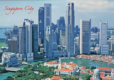 Aerial View of the Marina Bay City, Singapore, Skyline, Hotels, Banks - Postcard