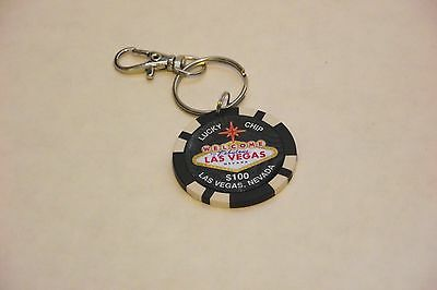 Las Vegas Casino Poker Chip keychain $100 Lucky Chip