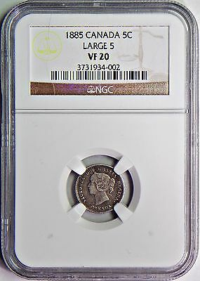 1885  5 Cents Large 5 Silver Canada NGC VF-20