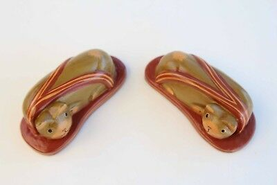 A Pair of Kitty Cat Sleeping in Flip Flops / Sandals - Handcrafted Wood Statue