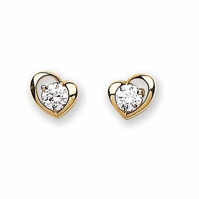 9ct Gold Heart Shaped Earrings with Cubic Zirconia Clear Stone Boxed 0868E