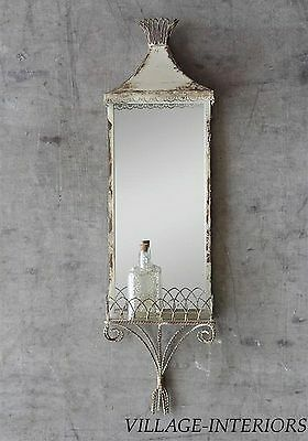 Wall Mirror With Shelf Vintage Style Cottage Chic, Chippy Shabby Ivory Paint