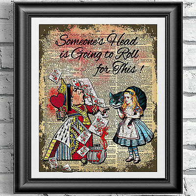 ART PRINT ON ANTIQUE BOOK PAGE Alice in Wonderland Queen of Hearts dictionary