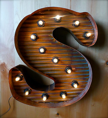"LG BROWN VINTAGE STYLE LIGHT UP MARQUEE LETTER S, 24"" TALL metal rustic sign"