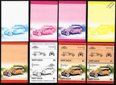 1931 CHRYSLER IMPERIAL Car Stamps (1984 St Lucia Progressive Proofs / Auto 100)