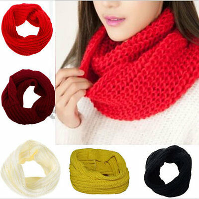 Women Fashion Warm Winter Infinity Circle Cable Knit Cowl Neck Scarf Long Shawl