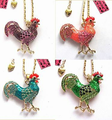 Betsey Johnson shiny crystal Enamel rooster pendant Necklace 4 Color#761L