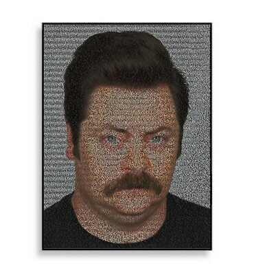 Ron Swanson Parks and Recreation Quotes Mosaic Framed Limited Edition Art w/COA