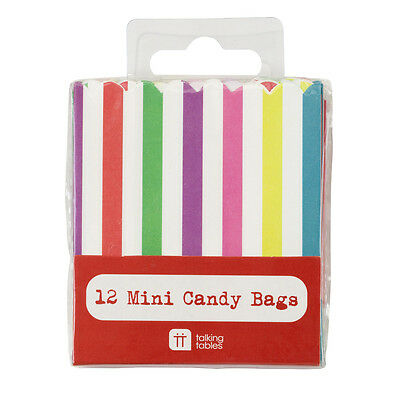 Very Mini Candy Sweet Bags Multi Colour x 12 - Sweet Stall Extra Bags Party
