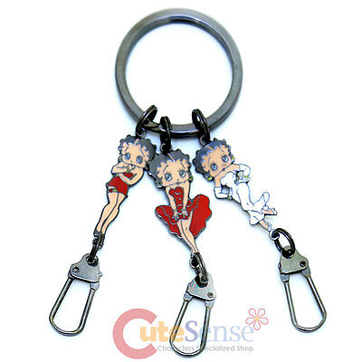 Betty Boop 3 Dress Pendents Metal Key Chain Key Holder