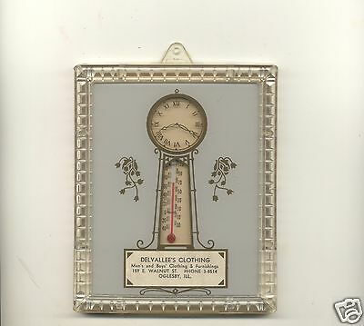 Vintage Original DELVALLEE'S CLOTHING Advertising Clock & Thermometer Framed