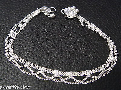 ANKLET: SILVERTONED WITH BELLS Wicca Witch Pagan Belly Dance Goth Punk Hippie