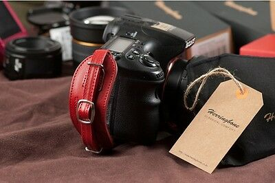 Herringbone Heritage Leather Hand Grip Strap Red Type 1 for DSLR Camera